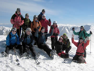 Skiers at the top of Mt Parnassos