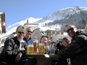 A group beer at Andermatt