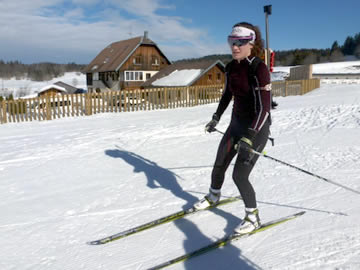 Skiing the biathalon